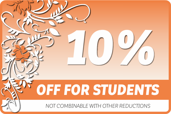10% off for Students, pupils and apprentices!